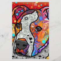 Cosmic Pit Bull - Bright Colorful - Gift Idea