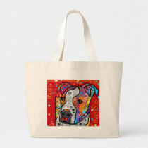 Cosmic Pit Bull - Bright Colorful - Gift Idea Large Tote Bag