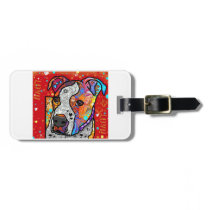 Cosmic Pit Bull - Bright Colorful - Gift Idea Luggage Tag