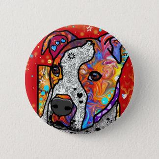 Cosmic Pit Bull - Bright Colorful - Gift Idea Pinback Button
