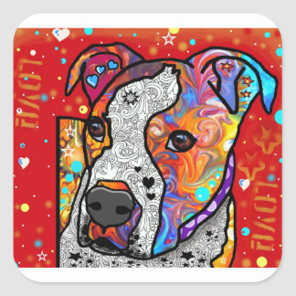 Cosmic Pit Bull - Bright Colorful - Gift Idea Square Sticker