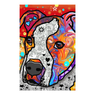 Cosmic Pit Bull - Bright Colorful - Gift Idea Stationery