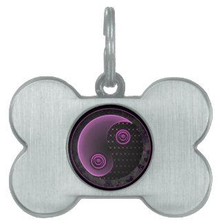 Cosmic Purple Yin Yang Bone Shape Custom Dog Tag