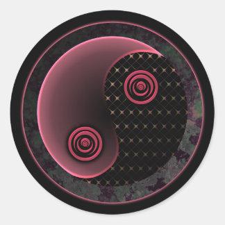 Cosmic Purple Yin Yang Classic Round Sticker