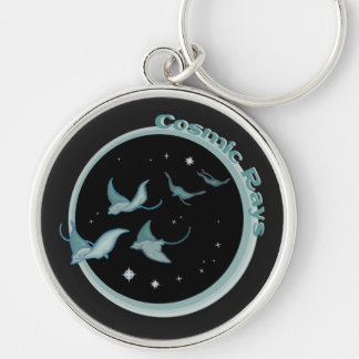 Cosmic Rays Silver-Colored Round Keychain