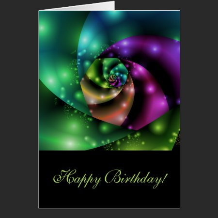 Cosmic Rose Fractal - Birthday Card