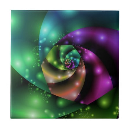 Cosmic Rose Fractal Ceramic Tile