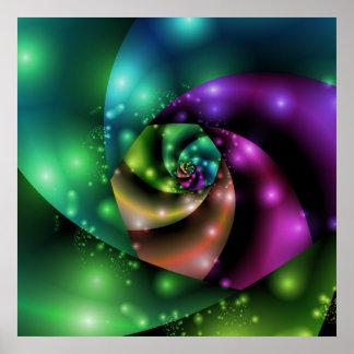 Cosmic Rose Fractal Poster