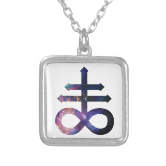 Cosmic Satanic Cross Silver Plated Necklace