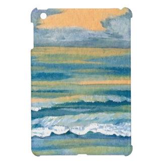 Cosmic Sea Yellow Gold and Blue Sunset Ocean iPad Mini Covers