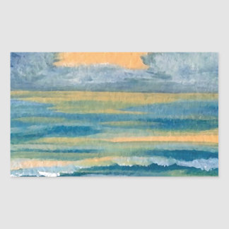 Cosmic Sea Yellow Gold and Blue Sunset Ocean Rectangle Sticker