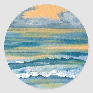 Cosmic Sea Yellow Gold and Blue Sunset Ocean Round Sticker