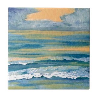 Cosmic Sea Yellow Gold and Blue Sunset Ocean Ceramic Tile