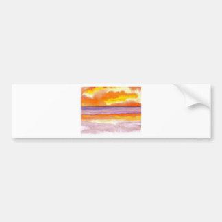Cosmic Seaside Sunset Sunrise Beach Painting Art Bumper Sticker