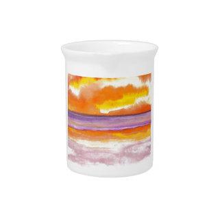 Cosmic Seaside Sunset Sunrise Beach Painting Art Drink Pitchers