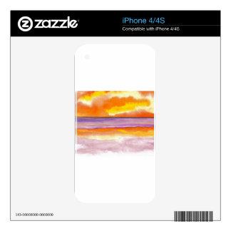 Cosmic Seaside Sunset Sunrise Beach Painting Art iPhone 4S Skins