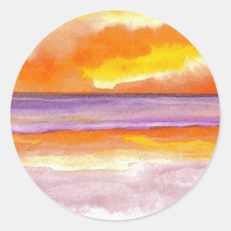 Cosmic Seaside Sunset Sunrise Beach Painting Art Round Stickers