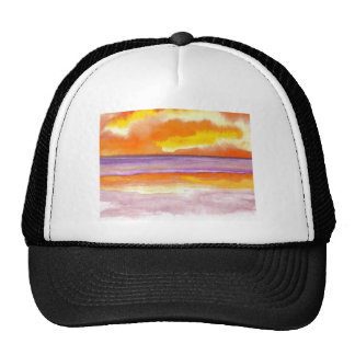 Cosmic Seaside Sunset Sunrise Beach Painting Art Trucker Hat