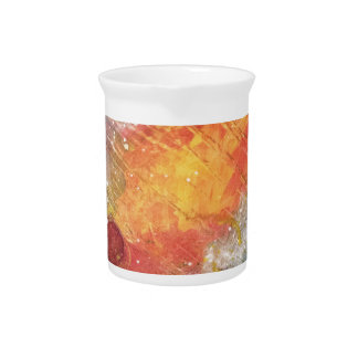 Cosmic sky with fireballs abstract painting pitcher