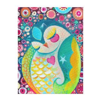 Cosmic Slumber - Sleepy Owl Canvas Wall Art