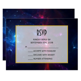 Cosmic Space Stars and Nebula RSVP Card