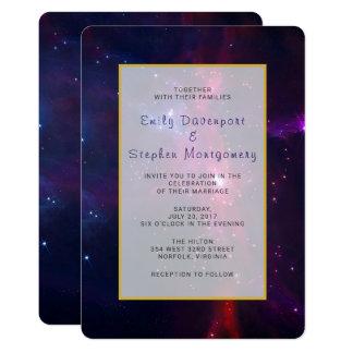 Cosmic Space Stars and Nebula Wedding invite