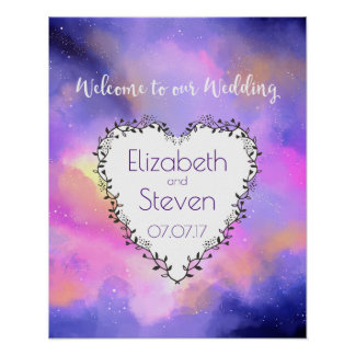 Cosmic Space Themed Wedding Welcome Poster