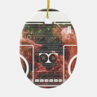 Cosmic Stereo Double-Sided Oval Ceramic Christmas Ornament