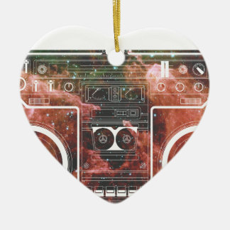 Cosmic Stereo Double-Sided Heart Ceramic Christmas Ornament