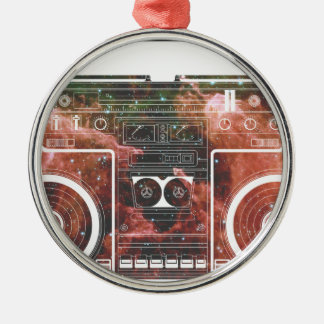 Cosmic Stereo Round Metal Christmas Ornament