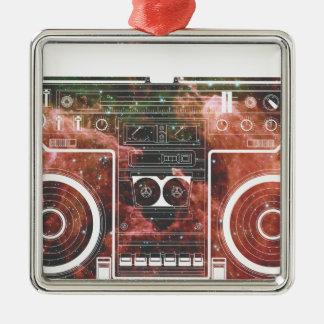 Cosmic Stereo Square Metal Christmas Ornament