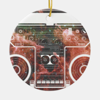 Cosmic Stereo Double-Sided Ceramic Round Christmas Ornament