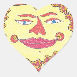 COSMIC SUN by Ruth I. Rubin Heart Sticker