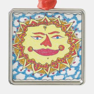 COSMIC SUN by Ruth I. Rubin Square Metal Christmas Ornament