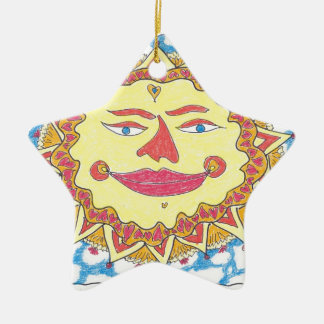 COSMIC SUN by Ruth I. Rubin Double-Sided Star Ceramic Christmas Ornament