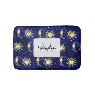 Cosmic sun moon and stars pattern blue watercolor bathroom mat