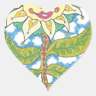 COSMIC SUNFLOWER by Ruth I. Rubin Heart Sticker
