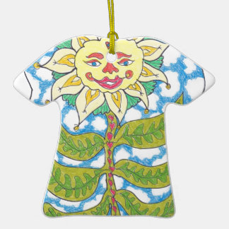 COSMIC SUNFLOWER by Ruth I. Rubin Double-Sided T-Shirt Ceramic Christmas Ornament