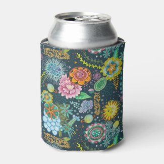 Cosmic Tarot Floral Pattern | Beverage Cooler Can Cooler