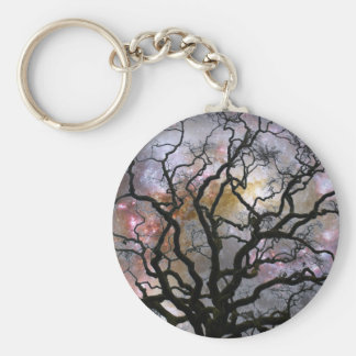 Cosmic Tree - Colliding Galaxies Basic Round Button Keychain