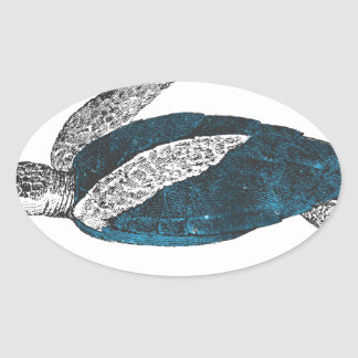 Cosmic turtle 2 oval sticker