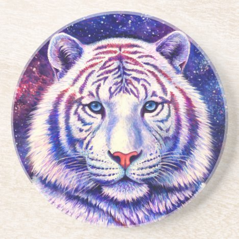 Cosmic White Tiger Round Stone Coaster