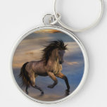 cosmic .. wild stallion Silver-Colored round keychain