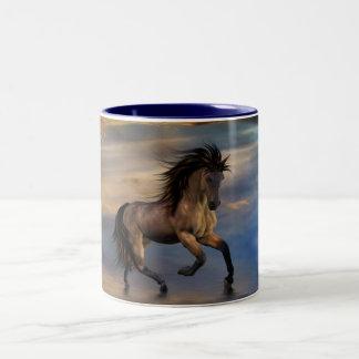 Cosmic .. wild stallion Two-Tone coffee mug