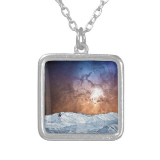 Cosmic Winter Landscape Silver Plated Necklace