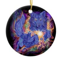Cosmic Wolf Ceramic Ornament