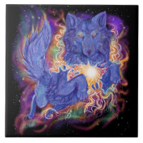 Cosmic Wolf Ceramic Tile