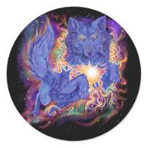 Cosmic Wolf Classic Round Sticker