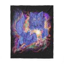 Cosmic Wolf Fleece Blanket