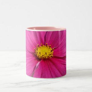 Cosmo centrado rosa brillante taza de dos tonos
